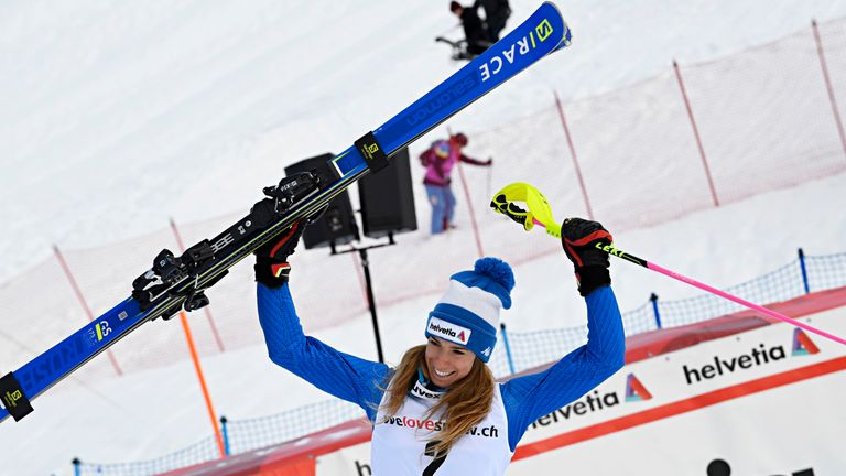 Marta Bassino delighted after her efforts in the Swiss mountains
