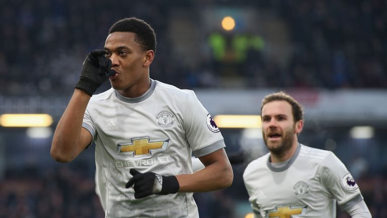 Anthony Martial celebrates his goal at Turf Moor