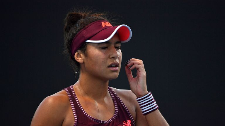 Britain's Heather Watson reacts after a point against Kazakhstan's Yulia Putintseva during their women's singles first round match