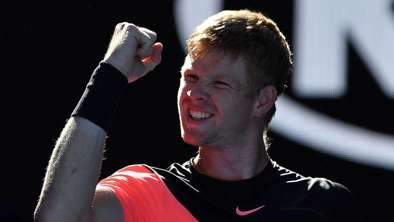 Britain's Kyle Edmund celebrates beating Bulgaria's Grigor Dimitrov in their men's singles quarter-finals match on day nine of the Australian Open tennis