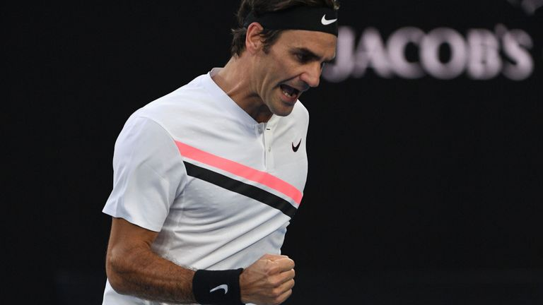 Switzerland's Roger Federer reacts against Czech Republic's Tomas Berdych during their men's singles quarter-finals match on day 10 of the Australian Open