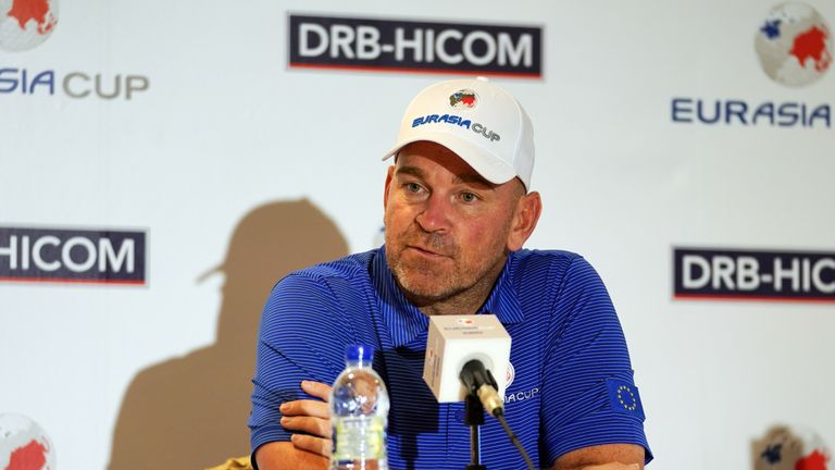 KUALA LUMPUR, MALAYSIA - JANUARY 09:  Thomas Bjorn captain of team Europe speaks during the press conference ahead of the EurAsia Cup presented by DRB-HICO