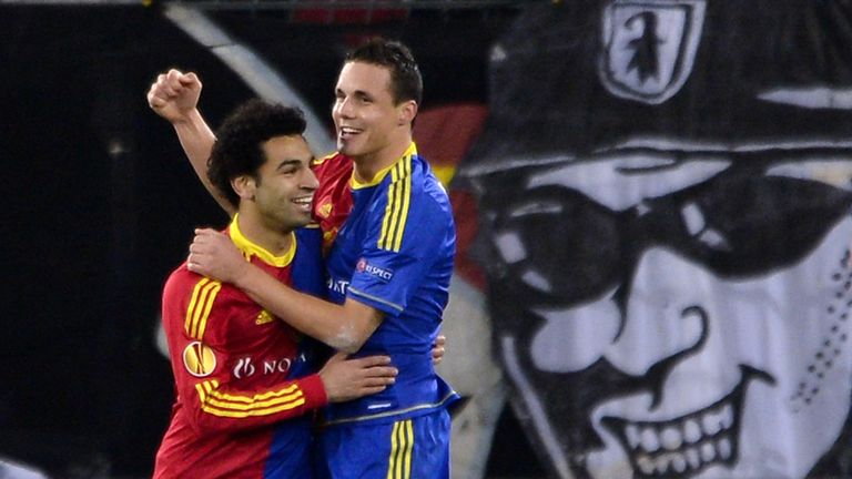 Salah celebrating with Basel team-mate David Degen, brother of Philipp, in 2012