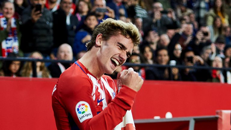 Antoine Griezmann scored a hat-trick against Sevilla on Sunday