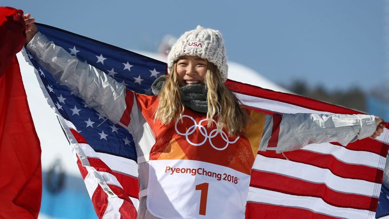 Chloe Kim celebrates winning gold after lighting up the Olympic Games on day four