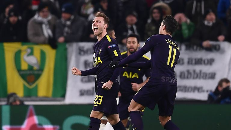 Christian Eriksen celebrates after equalising with a free-kick