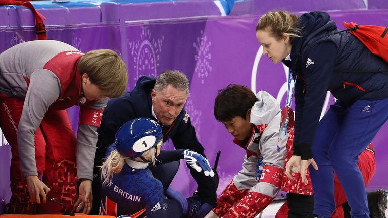 Elise Christie was badly injured when she crashed in the 1,500m