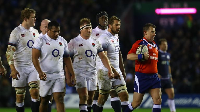 England look dejected after losing to Scotland for the first time in 10 years