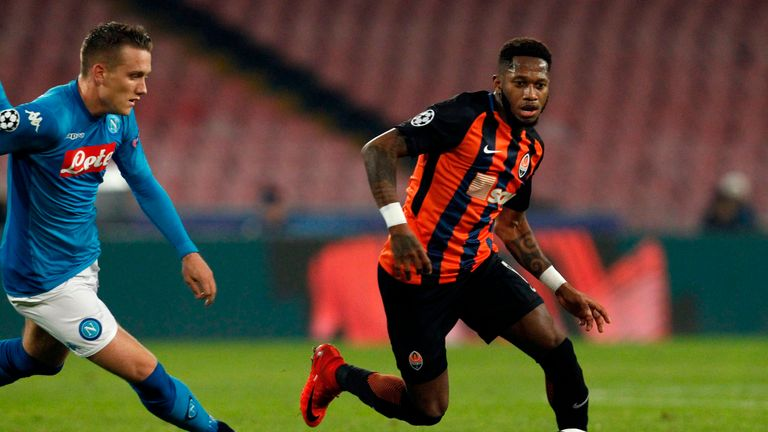 Shakhtar Donetsk's Brazilian midfielder Fred is a target for Man City