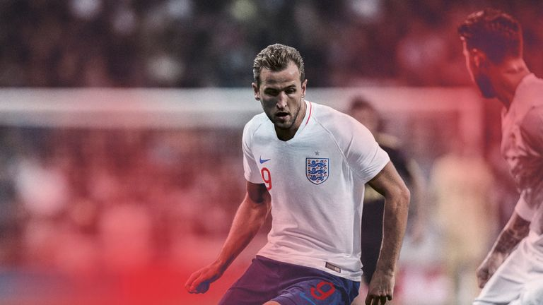 Harry Kane imagined in action wearing the new England kit