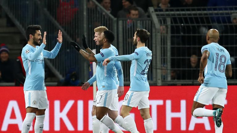 Gundogan (left) scored City's first and fourth goals of the night