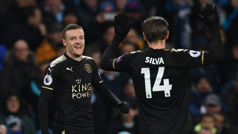 Jamie Vardy celebrates his equaliser with Adrien Silva