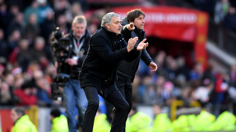 Rival managers Jose Mourinho (left) and Antonio Conte