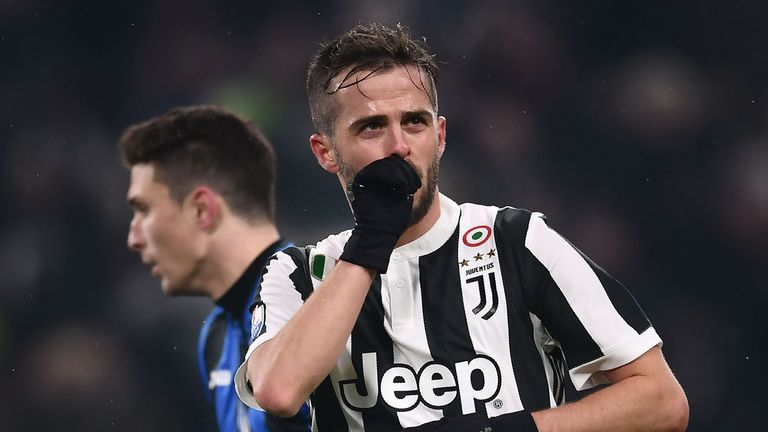 Miralem Pjanic celebrates scoring for the third time in four Coppa Italia clashes with Atalanta