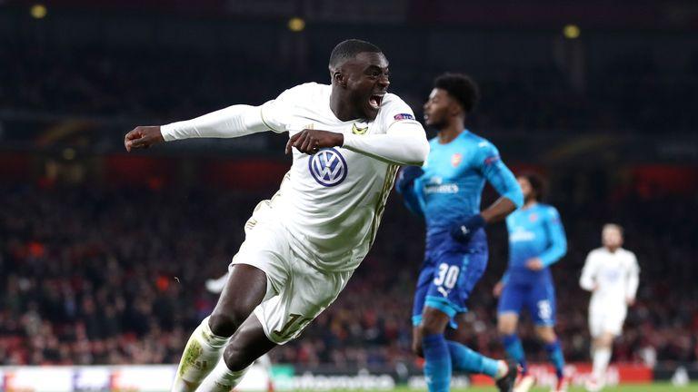 Ken Sema celebrates scoring for Ostersunds against Arsenal
