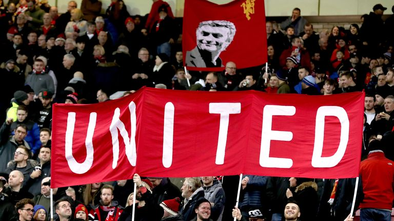 Manchester United fans in the stands at Old Trafford