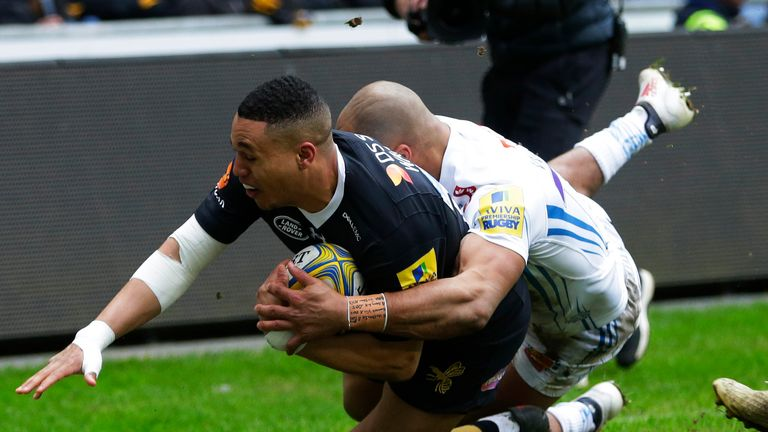 Marcus Watson scored Wasps' only try as they secured a narrow win over Exeter on Sunday