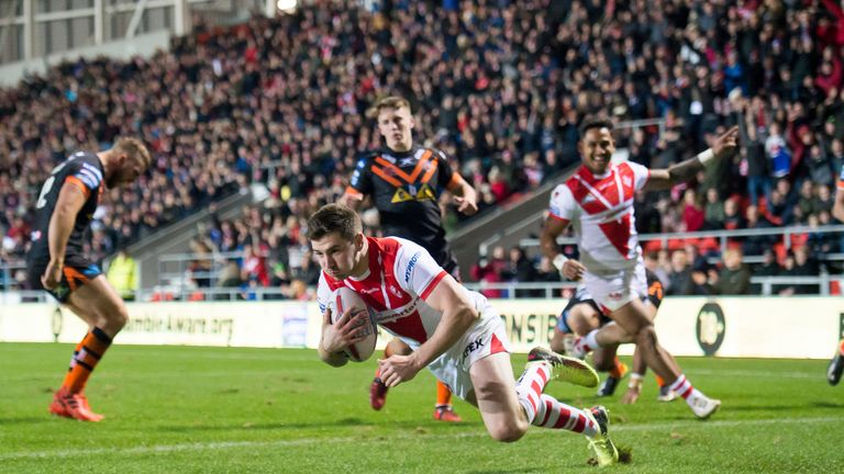 Mark Percival scored two tries for St Helens but finished the match in the sin-bin