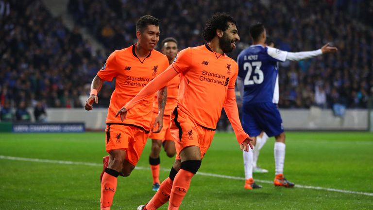 Mohamed Salah celebrates after scoring Liverpool's second goal