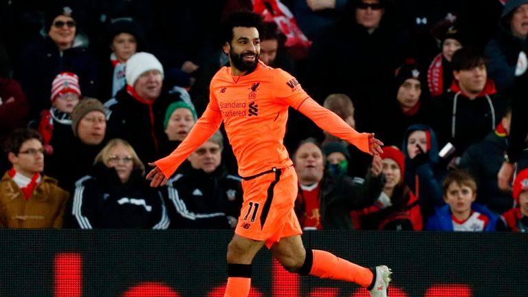 Mohamed Salah is well on course to beat Robbie Fowler's record for left-footed goals scored in a single season