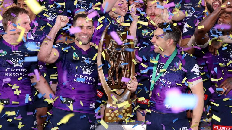 Melbourne Storm celebrate with the Provan-Summons trophy after winning the 2017 NRL Grand Final match against the North Queensland Cowboys
