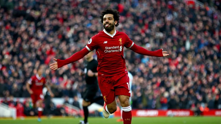 Mohamed Salah celebrates after doubling Liverpool's lead
