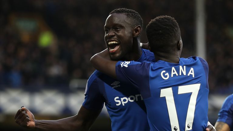 Oumar Niasse celebrates scoring Everton's second at Goodison Park