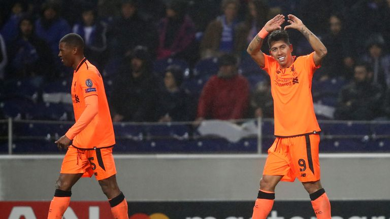 Roberto Firmino celebrates after scoring Liverpool's fourth goal