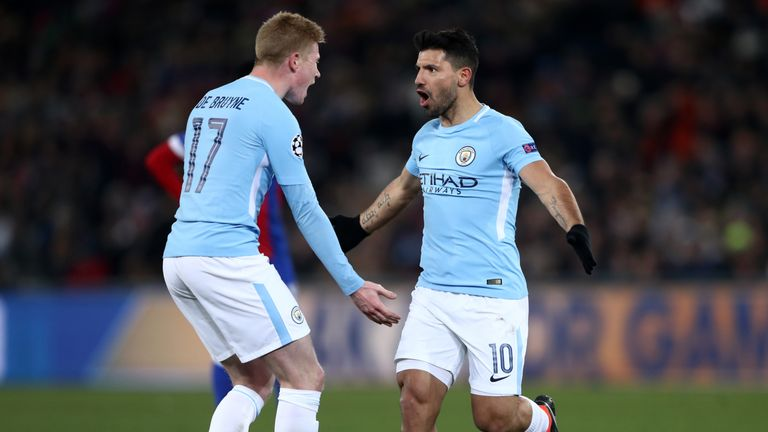 Sergio Aguero is congratulated by Kevin De Bruyne after putting Manchester City 3-0 ahead at Basel