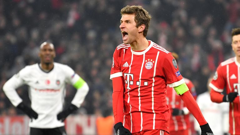 Bayern forward Thomas Muller (centre) celebrates after scoring in his side's 5-0 first-leg win over Besiktas