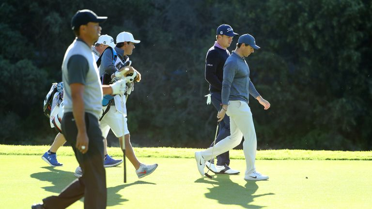Tiger Woods, Justin Thomas, and Rory McIlroy also played together at the Genesis Open