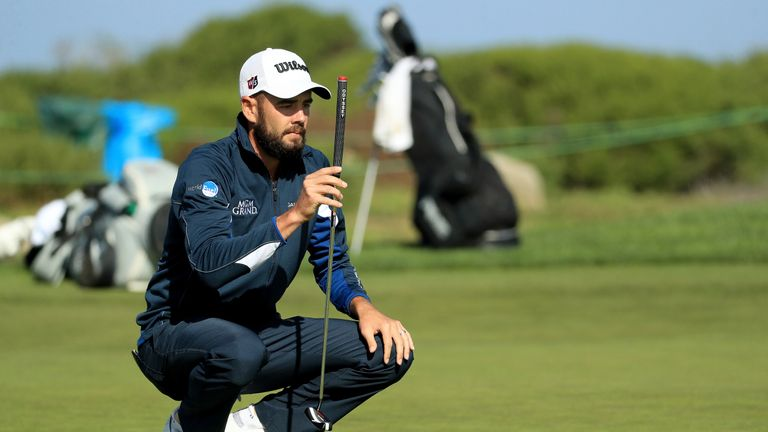 Merritt held a two-shot lead with six holes left of his round