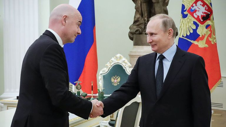 Infantino met Vladimir Putin at the Kremlin on Monday