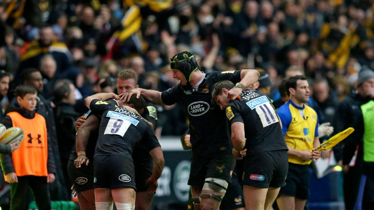 Wasps celebrate at the final whistle after beating Exeter