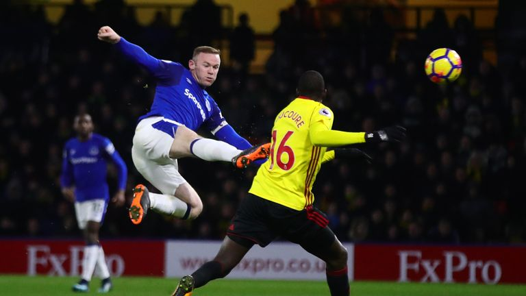 Wayne Rooney in action against Watford