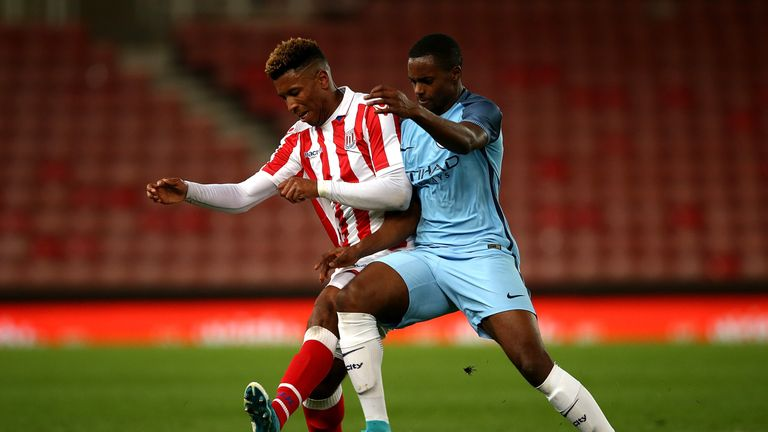 Tyrese Campbell in action during the FA Youth Cup semi-final against Man City