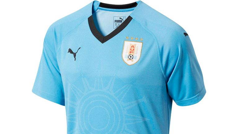Uruguay's home shirt features an 'engineered jacquard graphic'
