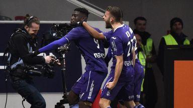Yaya Sanogo (L) celebrates after scoring against Monaco