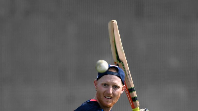 HAMILTON, NEW ZEALAND - FEBRUARY 17:  England player Ben Stokes gives his team mates some fielding practice during England Cricket nets at Seddon park ahea