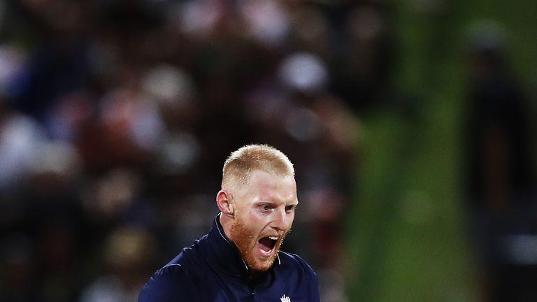 Ben Stokes celebrates the wicket of Tom Latham