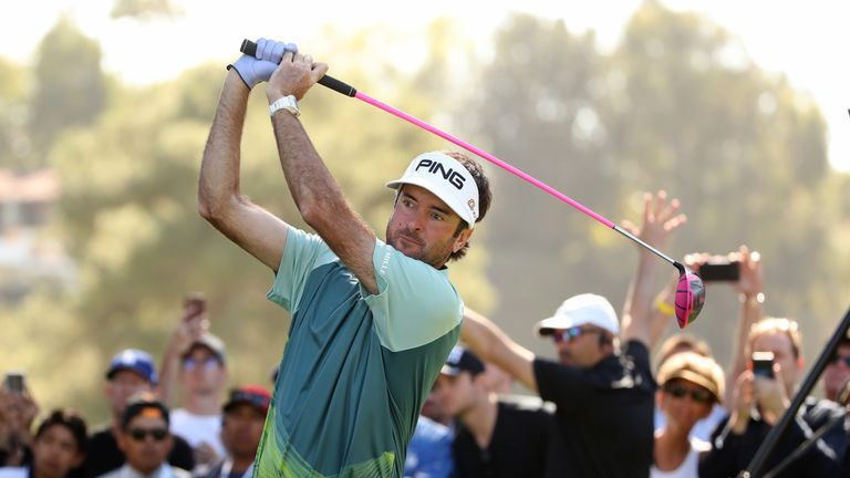PACIFIC PALISADES, CA - FEBRUARY 18:  Bubba Watson plays his shot from the 11th tee during the final round of the Genesis Open at Riviera Country Club on F