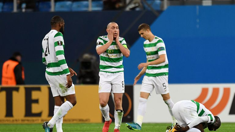 22/02/18 UEFA EUROPA LEAGUE LAST 32  ZENIT ST PETERSBURG v CELTIC  ST PETERSBURG - RUSSIA   Celtic's Scott Brown shows his frustration