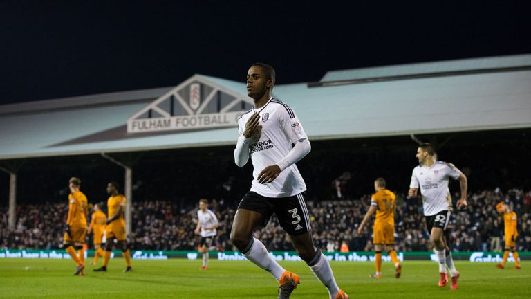 Ryan Sessegnon celebrates giving Fulham the lead in the Sky Bet Championship match against Wolverhampton Wanderers