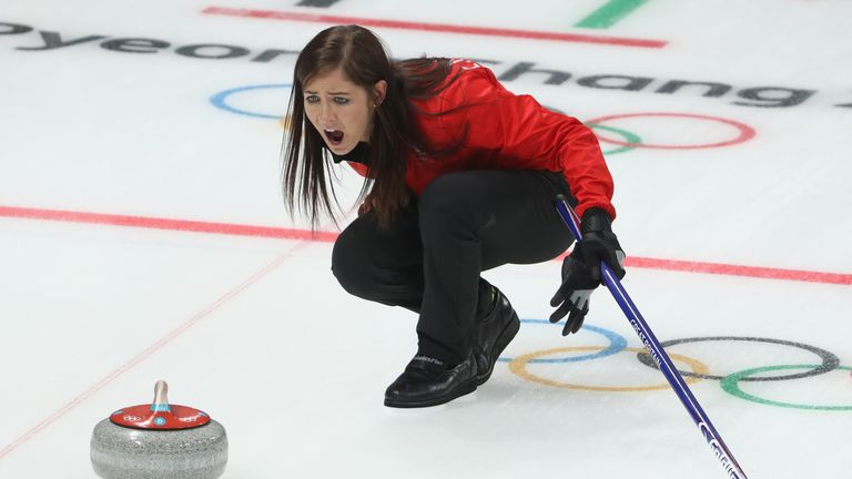 GANGNEUNG, SOUTH KOREA - FEBRUARY 15: Eve Muirhead of Great Britain reacts during the Curling Women's Round Robin Session 2 held at Gangneung Curling Centr