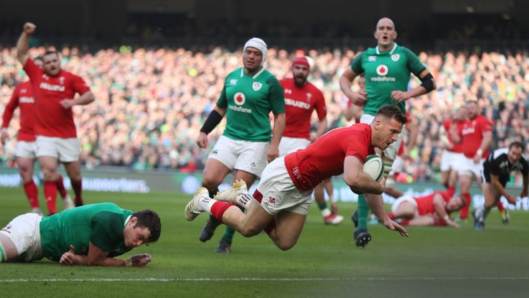 Wales's Gareth Davies scores a try during the RBS Six Nations match at the Aviva Stadium, Dublin.