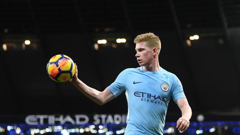 MANCHESTER, ENGLAND - FEBRUARY 10:  Kevin De Bruyne of Manchester City retrieves the ball during the Premier League match between Manchester City and Leice