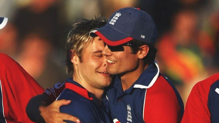 Alastair Cook (right) congratulates Luke Wright on denying  New Zealand victory