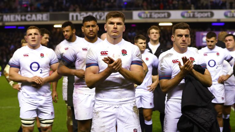 Owen Farrell and George Ford of England show their disappointment after defeat to Scotland.
