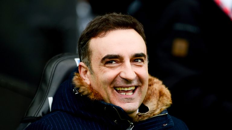 Carlos Carvalhal in good spirits ahead of the Premier League match between Swansea City and Burnley at the Liberty Stadium
