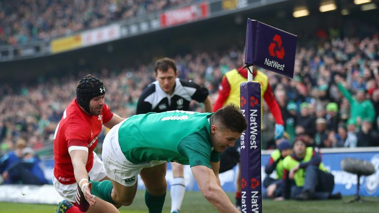 Jacob Stockdale of Ireland dives in for a first half-try during aSix Nations match between Ireland and Wales